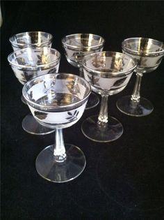 Vintage 60's Libbey Frosted Silver Leaf Cordial Liqueur Glasses Set/6