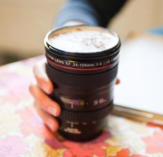 Camera Lens Travel Mug - A Must For Photographers! holiday, cup, gift ideas, coffee, camera lens, canon cameras, place, stainless steel, christmas gifts