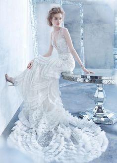 Ivory Beaded Plunging V Neck Art Deco Inspired Slip Gown