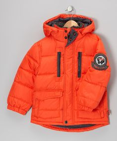 Take a look at this Hawke & Co. Orange Campfire Down Puffer Coat - Boys on zulily today!