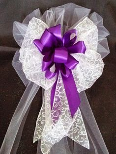 SALE+Wedding+Bows+Purple+Satin+And+Tule+Bows+With+by+AsPrettyDoes