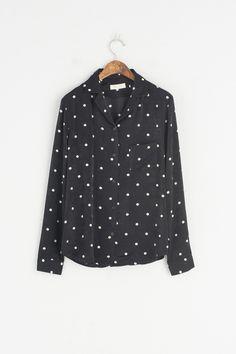 V Veck Dot Print Blouse, Black, 100% Polyester