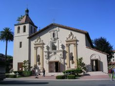 Mission Santa Clara. The eight white crosses in front represent the martyrdom of six Jesuits and their house keepers in El Salvador