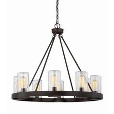 The Inman - 8 Light Outdoor Chandelier by Savoy House features a modern, sleek design. Outdoor living spaces deserve stylish lighting like this Savoy House Inman 8-light chandelier. The lights are on full display, but protected by clear cylindrical glass shades, and offset with an English bronze finish. Damp area rated, so this light can be used in covered outdoor areas. Visit PatioProductsUSA.com to purchase now! Outdoor Hanging Lanterns, Outdoor Chandelier, Chandelier Lighting, Chandeliers, Bronze Chandelier, Home Lighting, Outdoor Lighting, Pergola Lighting, Lighting Design