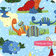 Classic Jurassic Blue Scenic Yardage SKU# 87625-448W Classic Jurassic by Viv Eisner for Wilmington Prints