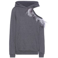 Christopher Kane Feather-Embellished Cotton Sweatshirt (61.320 RUB) ❤ liked on Polyvore featuring tops, hoodies, sweatshirts, grey, grey top, grey sweatshirt, christopher kane sweatshirt, decorated sweatshirts and embellished tops