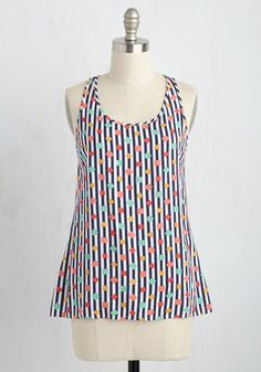 Sunshine, snow cones, and your fave printed tank - just how you imagine spending a perfect Saturday. Part of our ModCloth namesake label, this top parades navy and white stripes, colorful shapes, and a keyhole-adorned racerback that make you feel alive and exhilerated - no Loop-the-Loop necessary!
