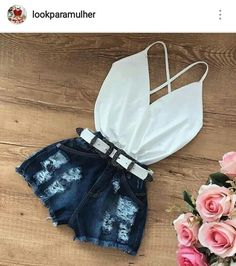 Trendy distressed denim shorts and cute little white top. Cute Teen Outfits, Short Outfits, Outfits For Teens, Pretty Outfits, Stylish Outfits, Spring Outfits, City Outfits, Dinner Outfits, Fashion Outfits