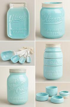 LOVE these ceramic mason jar kitchen accessories! - LOVE these ceramic mason jar kitchen accessories! Kitchen Ikea, Kitchen Gadgets, New Kitchen, Kitchen Utensils, Mason Jar Kitchen Decor, Cooking Gadgets, Kitchen Stuff, Aqua Kitchen, Pastel Kitchen