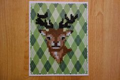 Retro Deer on Plaid perler beads by EightBitAffinity