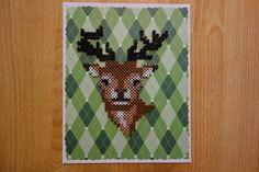 Retro Deer on Plaid perler beads by EightBitAffinity