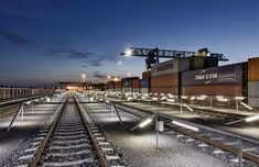 The Enns container terminal is one of the most modern and important terminal locations in Austria. During renovation work, the complete lighting was converted to LED from BILTON. Railroad Tracks, Austria, Lighting, Transportation, Container Terminal, Hand Railing, Round Round, Products, Light Fixtures