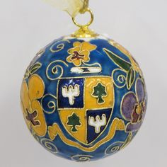 Officially licensed Delta Delta Delta, handcrafted, 24k gold plated cloisonne ornament - www.KittyKeller.com