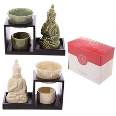 Buddha Ceramic and Wood Tiered Oil Burner http://ift.tt/2bFoBF0