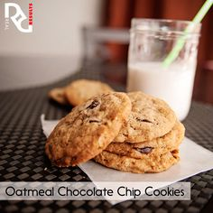 Erin's Whole Wheat Oatmeal Chocolate Chip Cookies  ¾ cup rolled oats  1 cup whole wheat flour  ½ tsp. baking soda ½ tsp. salt ¼ cup butter (half a stick)  ¼ cup canola oil 1/3 cup granulated sugar 1/3 cup light brown sugar 1 large egg 1 tsp. vanilla extract  ½ cup chocolate chips  1 T. ground flax seeds   Full instructions on http://www.realresults-inc.com