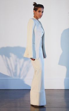 Deena wears Rosie Assoulin cotton twill jacket, £1,530, vest, £845, and trousers, £1,105, matchesfashion.com