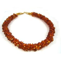 Amber Chip and Gold Bead Woven Necklace