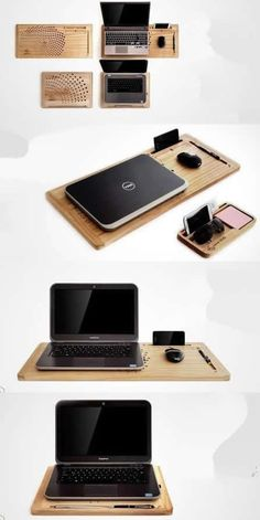Bamboo Wooden Laptop Apple  MacBook Mobile  Lap Desk Cooling Stand Holder Mouse Pad iPhone iPad Smart Phone Holder Dock Mount