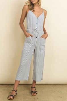 ed2fa13408c Dress Forum Womens Blue Striped Button Up Cami Jumpsuit Medium NWT  fashion   clothing
