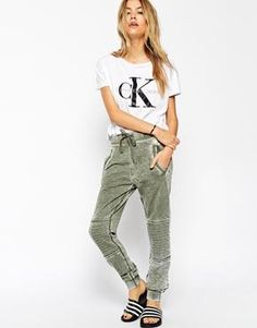 ASOS Joggers with Utility Detail in Acid Wash
