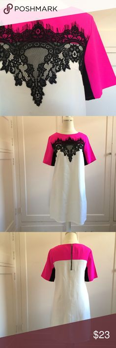 """👄PRICE FIRM👄 NWOT Color Block Pink & Black Dress NO TRADES. 👄PRICE FIRM👄 How cute is this dress?!! New, without tags. Bright pink sleeves, black lace overlay and cream body. Not lined. Exposed zipper in back. 33"""" in length. 17"""" across at bustline. 17"""" across at waistline. No stretch. 100% polyester.  👄PRICE FIRM👄 Charlotte Russe Dresses"""