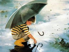 #Boy playing with water in this beautiful #watercolor #painting. This #Beautiful water color painting is created by #professional #painter.