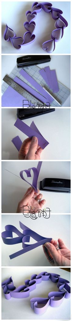 Easy heart garland, using a just stapler - Click image to find more DIY & Crafts Pinterest pins