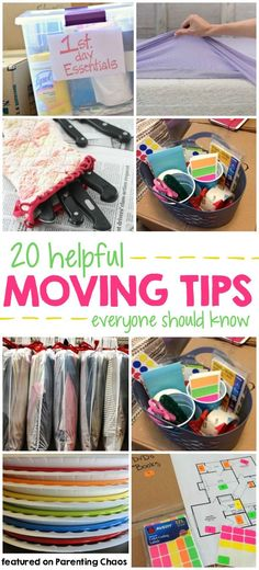 20 Helpful Moving Tips Everyone Should Know ⋆ Parenting Chaos : 20 Moving Hacks Everyone Should Know Moving House Tips, Moving Home, Moving Day, Moving Tips, Moving Hacks, Organizing For A Move, Move In Cleaning, Cleaning Tips, New Home Checklist