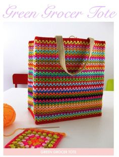 I love the colors in this Crocheted bag