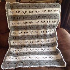 Grey & White dragonflies crochet baby blanket