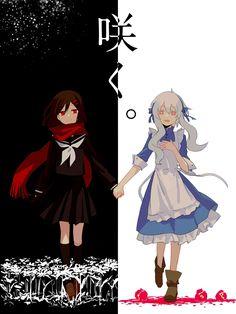 Mary y Ayano   Kagerou project   pixiv by aaniko Anime Guys, Manga Anime, Anime Art, Ayano Tateyama, Nier Characters, Kagerou Project, Sad Art, Character Wallpaper, Anime Angel