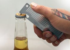 Bottle openers are everywhere these days: shoes, grills, belts, steering wheels… okay maybe I made the last one up. The Old Familiar Comb Bottle Opener (24.00 USD) combines two tools most men use everyday. Designed by a beer drinking barber in Columbus, OH, the comb is laser cut from 12 gauge stainless steel, which makes it both extremely sanitary and tough. Read more at: http://www.standardequipment.co