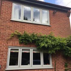 Sash Windows, Casement Windows, Windows And Doors, House With Grey Windows, House Windows, Brick Building, Building A House, Coloured Upvc Windows, Window Glass Replacement
