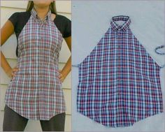 GREAT idea.  Use an old button down shirt  ( hubby's or garage sale find)  and make this darling apron cover up . Soon cute.  (*+^)