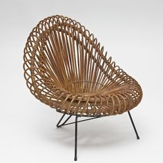 Spectacular Lounge Chair, Basket Form In Rattan And Bamboo, On Black  Enameled Steel Tripod Frame, Circa
