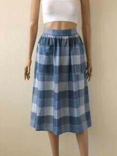 Blue Plaid Midi Skirt Flannel