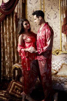Silk Blend Gorgeous Men Women Sleepwear Sleep Tops Robe Pants Pajama Sets Gifts