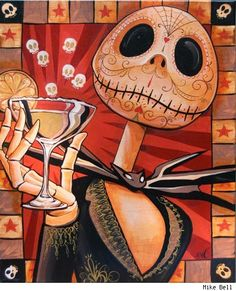 Jack Celebrates the Dead by Mike Bell Skellington Decor Halloween Wall Art Print jack-the-skeleton nightmare-before-christmas martini sugar-skull alternative-artwork Jack Skellington, Nightmare Before Christmas, Sally Nightmare, Jack Et Sally, Arte Tim Burton, Mike Bell, Jack The Pumpkin King, Chesire Cat, Illustration