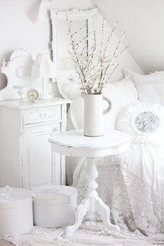gorgeous white shabby chic...I'd have to add a little color but I love each piece!