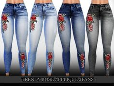 The Sims Resource: Trendy Rose Applique High Waist Jeans by Saliwa • Sims 4 Downloads