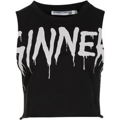 Bitching & Junkfood SINNER CROP Top (1.255 UYU) ❤ liked on Polyvore featuring tops, shirts, crop tops, tank tops, crop, black, cropped tops, crop shirt, round neck shirt and cut-out crop tops
