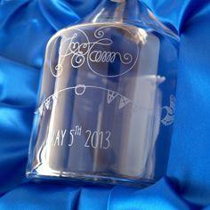 This design is from a wedding invitation. The customer supplied the decanter and asked us to engrave the design ready to present as a gift on the bride and groom's wedding day. The satin-lined presentation box was supplied by us. Wedding Groom, Wedding Day, Decanter, Frost, Wedding Invitations, Lime, Perfume Bottles, Presentation, Presents