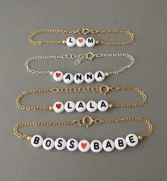 CUSTOM Alphabet Letter Beaded Gold Bracelet also available in Silver Rose Gold
