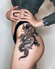 Hip Thigh Tattoos, Arm Tattoos For Women, Dragon Thigh Tattoo, Dragon Sleeve Tattoos, Tattoo On Leg, Side Thigh Tattoos Women, Lion Tattoo, Dragon Tattoo Lower Back, Man Hand Tattoo