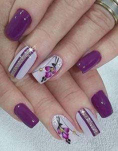 Diy Flower Nail Art Tutorial No Tools Nail Art Design Rose Pearl Purple And Silver Nails, Purple Nail Art, Purple Nail Designs, Pretty Nail Art, Acrylic Nail Designs, Nail Art Designs, Purple Glitter, Pastel Nails, Pretty Pastel