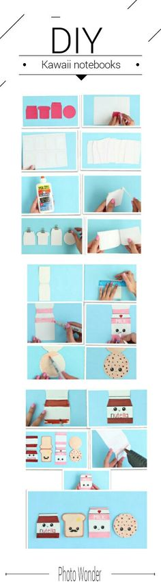 DIY Kawaii notebooks - easy and kawaii crafts. For scholl projects / By Nim C