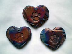 Three Paw Print Heart Focal Beads in Clay by spinningstarstudio, $9.00