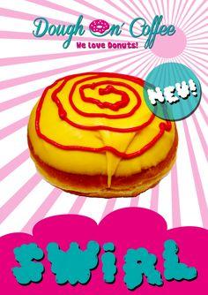 lecker Donut mit einer Waldfruchtfüllung und gelber Belgischer Schokolade!