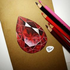 een feeling a ruby coming on for a while. Love these diamond journal covers! If you need one DM m Realistic Drawings, Colorful Drawings, Art Drawings Sketches, Marker Kunst, Marker Art, Gem Drawing, Crystal Drawing, Jewelry Design Drawing, Colored Pencil Techniques