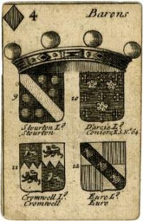 The arms of Stourton in the Arms of English Peers Playing Cards published in 1688.